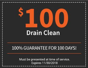 $100, 100% Guarantee for 100 Days Drain Cleaning
