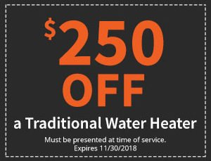 $250 Off a Traditional Water Heater