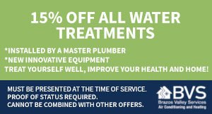 15% OFF ALL WATER TREATMENTS